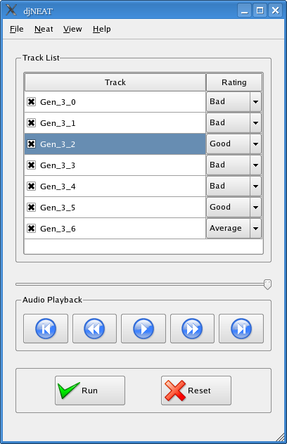 djNEAT user interface.